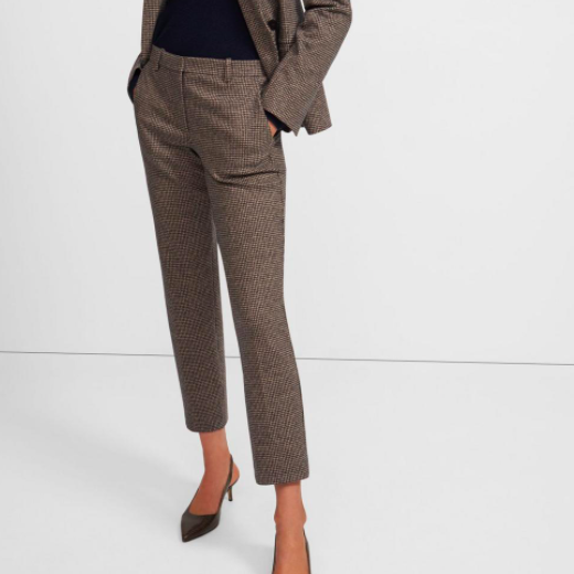 THEORY HOUNDSTOOTH WOOL CROPPED TROUSER PANT