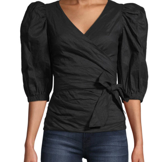 nicole miller design puff sleeve shirt at Denver clothing shop