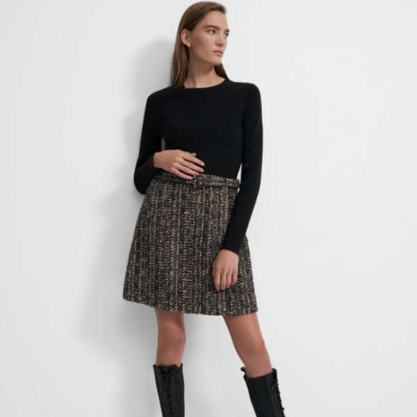 Long-Sleeve Knit Combo Dress in Tweed Theory Black