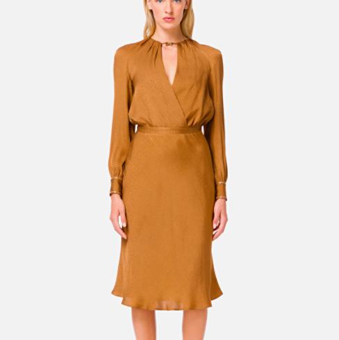 Slik Textured Midi Dress Elisabetta Franchi Dress with large neckline