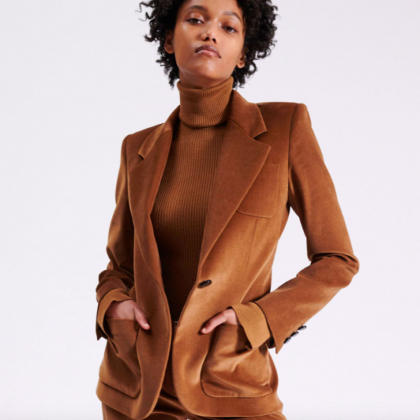 Barbara Bui Tailored Velvet Blazer Jacket Camel Red