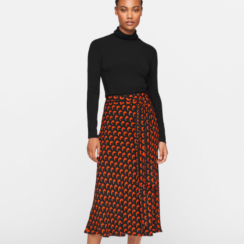 DVF wrap skirt eco fabric red crescent lesley