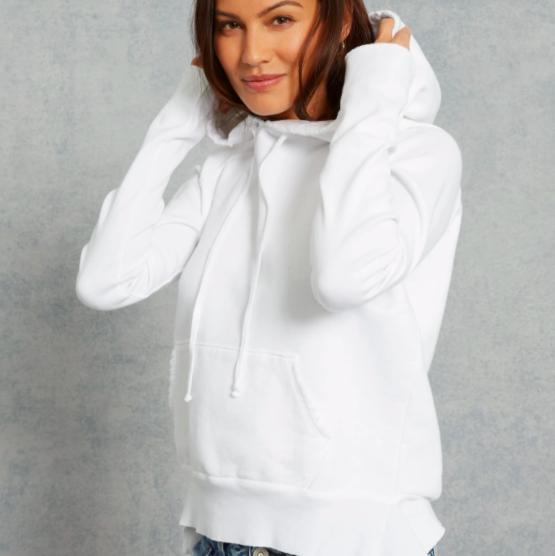 White Cotton Pullover Hoodie Frank and Eileen TeeLab502 Sweatshirt