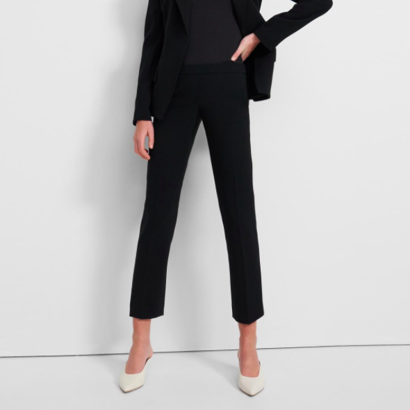 Treeca Pull-On Pant in Crepe Black Theory Trouser