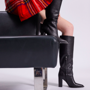 Barbara Bui RIDING BOOTS IN GRAINED LEATHER Black Heel