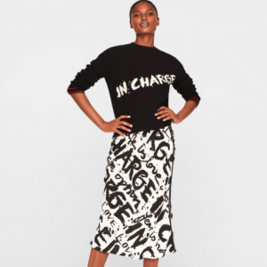 DVF writing black and white Mae Crepe Midi Skirt