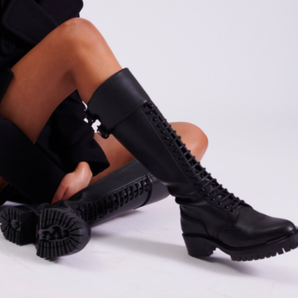 Barbara Bui Combat High Boots Lace Up Zipper Lug Sole Black