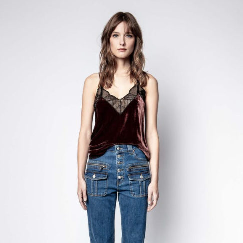 Christy Cami Deep Red Burgundy Bordeaux Lace Strappy Top Zadig and Voltaire