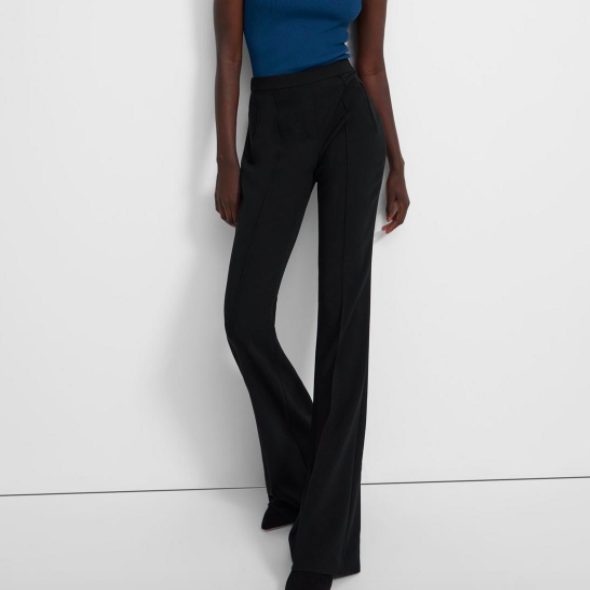 Demitria Pull-On Pant in Crepe Theory Black Flare High Waisted