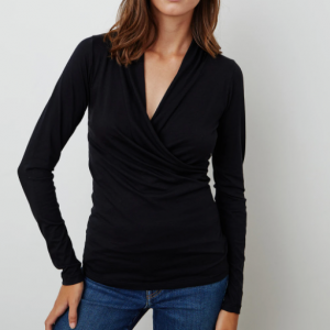 BLACK COTTON WRAP STYLE STOP LONG SLEEVE VELVET BY GRAHAM AND SPENCER