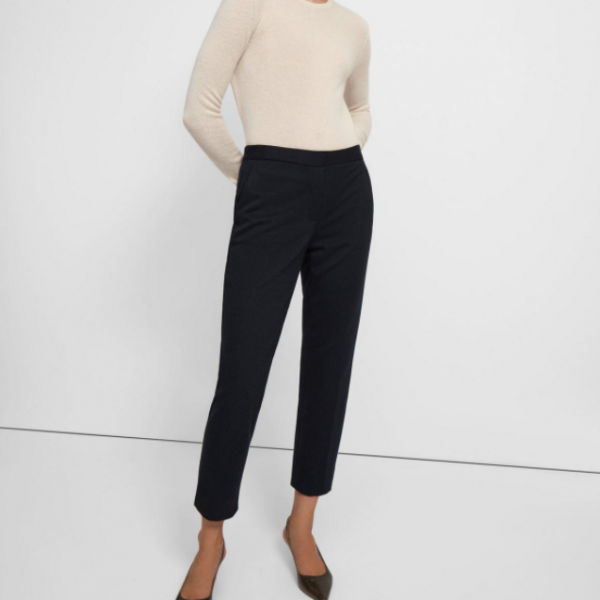 Treeca Pull-On Pant in Striped Viscose Knit Theory Trouser