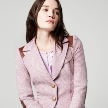 RIFLE-PATCH EQUESTRIAN BLAZER Smythe pink harringbone leather