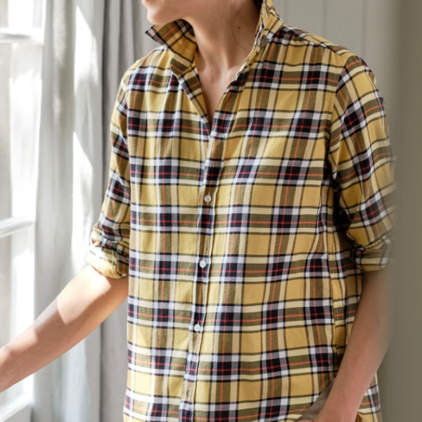 Frank by Frank and Eileen Mustard and White Plaid Button Down Shirt