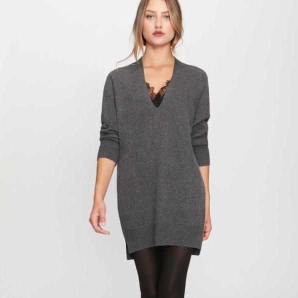 The Lace Looker Mini Dress Brochu Walker Grey Black Cashmere