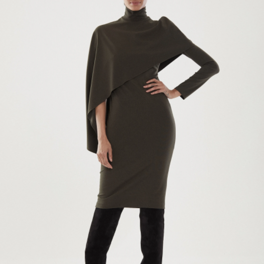 Layla Long Sleeve Fitted Micro Knit Caped Dress by Halston