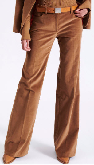 Barbara Bui designer Camel Smooth Velvet Flare Trousers cherry creek co clothing boutique