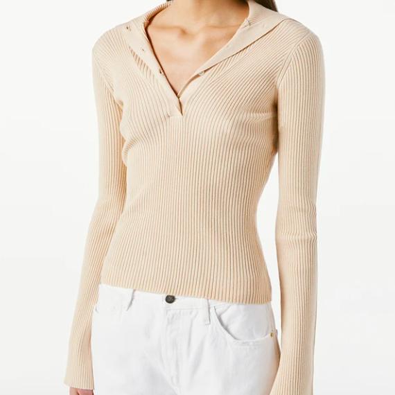 Frame Fold Over Collar Sweater Top Vanilla