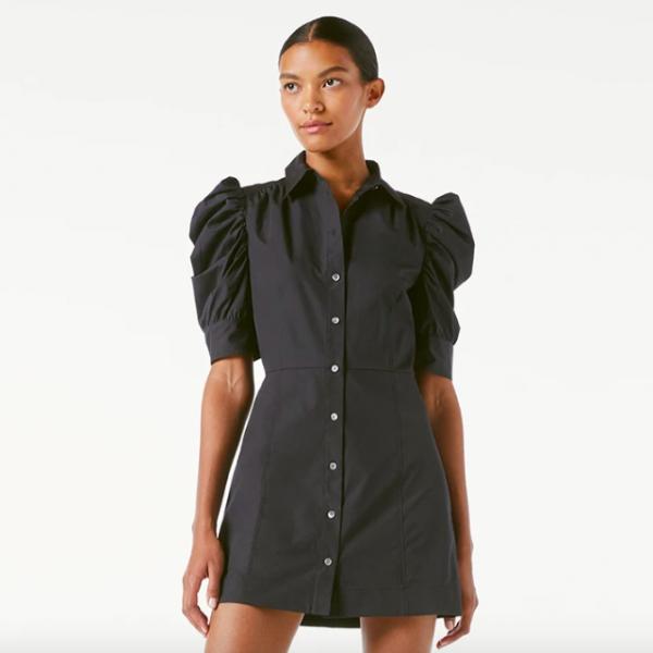 Frame Gillian Dress Noir Puff Sleeve Mini