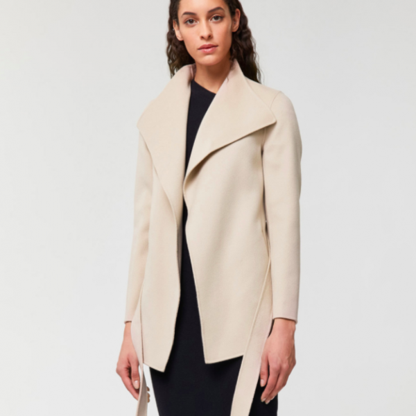 AZARA short double-faced wool coat with belt Mackage