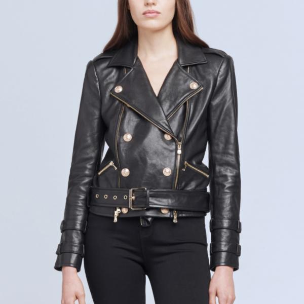L'Agence Belted Leather Jacket
