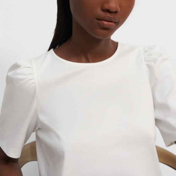 THEORY COTTON JERSEY SHORT SLEEVE RUCHED TEE