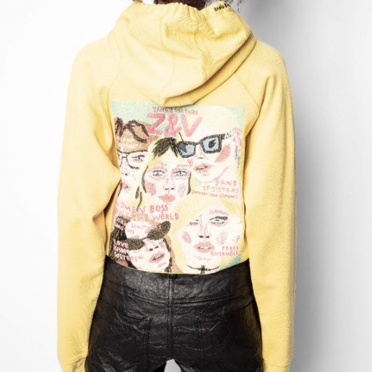 ZADIG AND VOLTAIRE CLIPPER BAND OF SISTERS SWEATSHIRT HOODIE