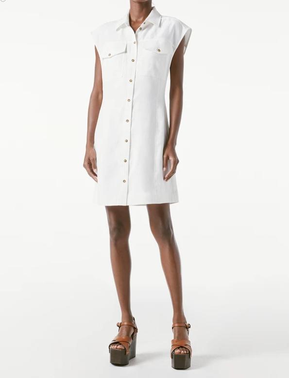 FRAME ARIE DRESS WHITE LINEN BUTTON DOWN