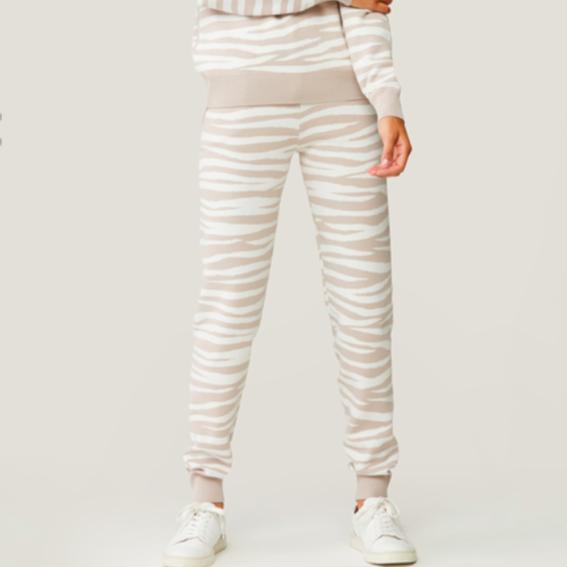 SOIA & KYO VERONA sustainable zebra print cuffed sweatpants