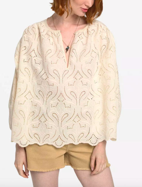 OTTOD'AME EMBROIDERED COTTON FLARED BLOUSE