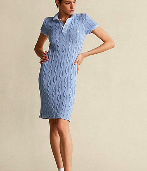 POLO RALPH LAUREN CABLE KNIT POLO DRESS