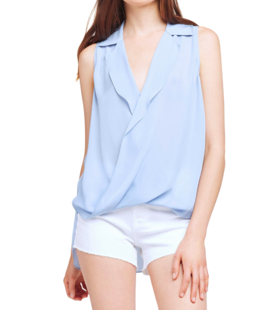 L'AGENCE FREJA SLEEVELESS DRAPED BLOUSE
