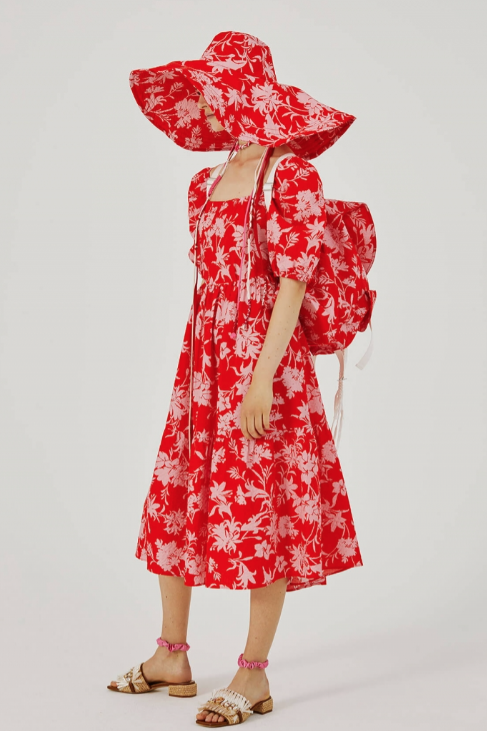 Beatrice B Pink and Red Floral Puff Sleeve Dress