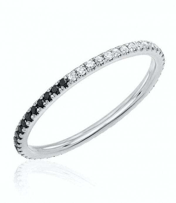 EF COLLECTION 14K WHITE GOLD 2 TONE ETERNITY STACK RING