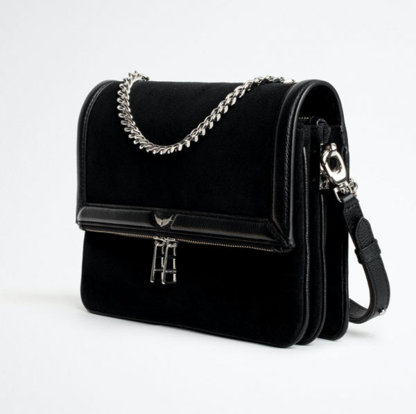 Zadig and Voltaire rock novel black leather and suede handbag