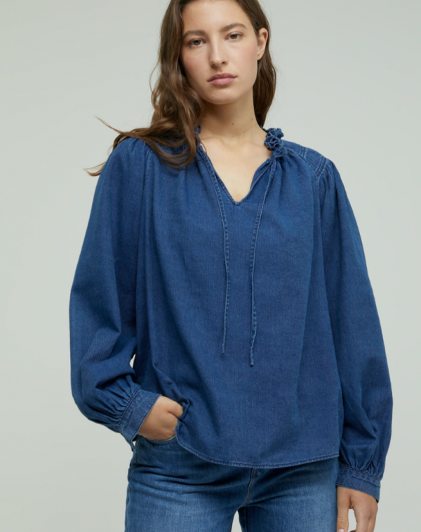 CLOSED COTTON TWILL STAND-UP COLLAR BLOUSE