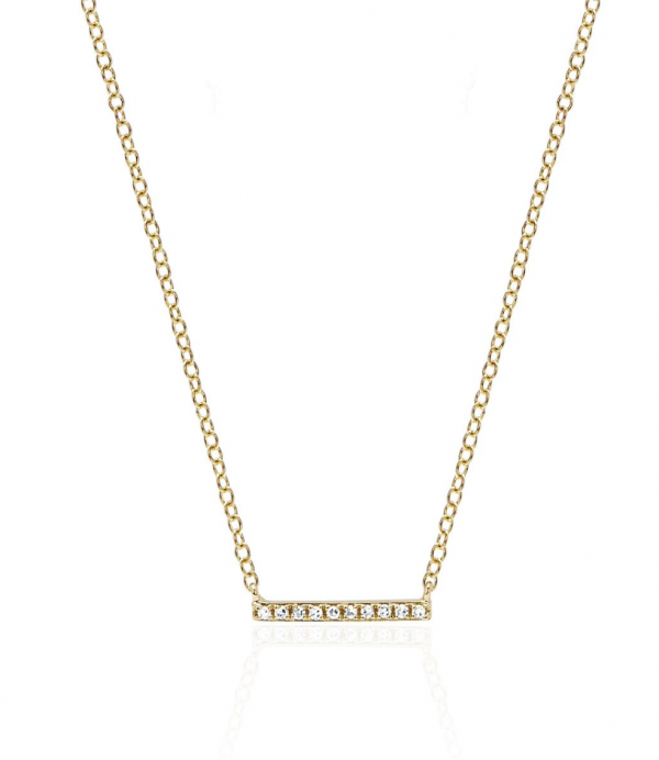 EF Collection 14k Diamond Mini Bar Necklace