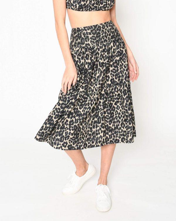 Nicole Miller Cheetah Silk Cotton Voile Midi Skirt