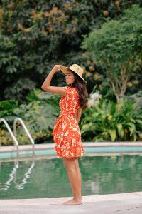 XIX Palms Ruffled Party Dress