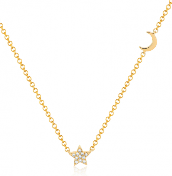 EF COLLECTION 14K BABY DIAMOND STAR AND GOLD MOON NECKLACE