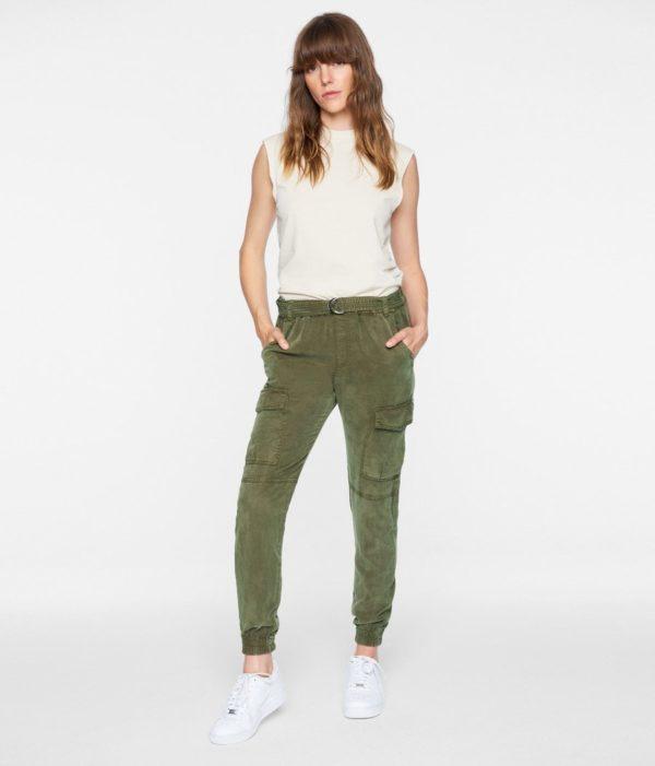 Pam & Gela Belted Jogger Pant Green Denver Boutique