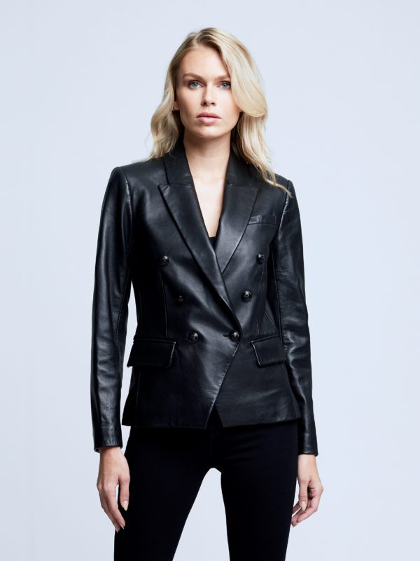 L'AGENCE KENZIE LEATHER DOUBLE BREASTED BLAZER
