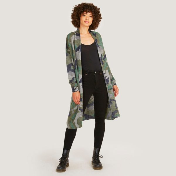 AUTUMN CASHMERE INKED CAMO OPEN DUSTER SWEATER