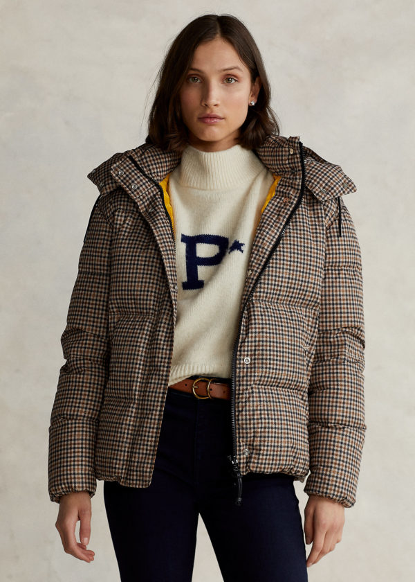 RALPH LAUREN POLO CARLY PLAID DOWN-FILLED COAT