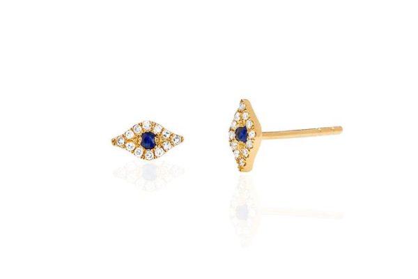 EF COLLECTION 14K MINI DIAMOND EVIL EYE STUD EARRING - SINGLE