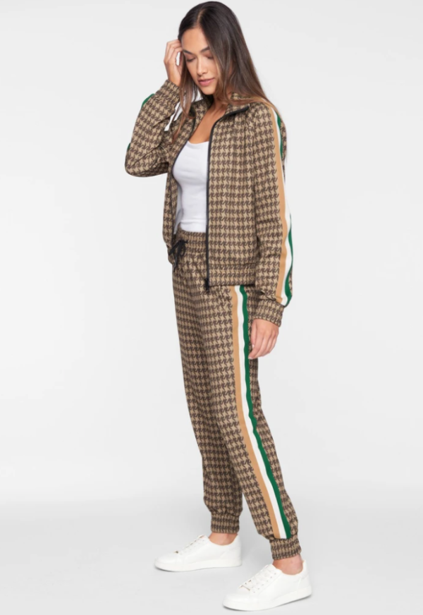 PAM AND GELA HOUNDSTOOTH CROP TRACK PANT
