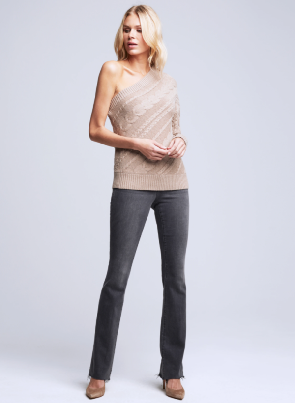 L'AGENCE ZOE ASYMMETRICAL CABLE SWEATER