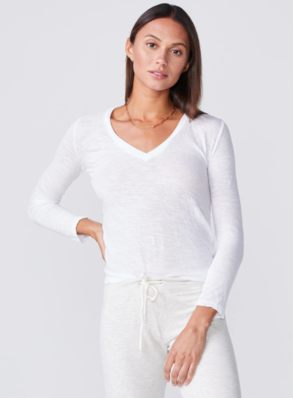 MONROW Textured Tri-Blend Fitted Long Sleeve V Neck Tee