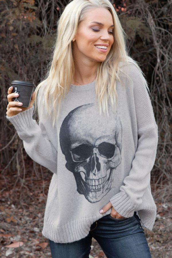WOODEN SHIPS PRINTED SKULL CREW SWEATER