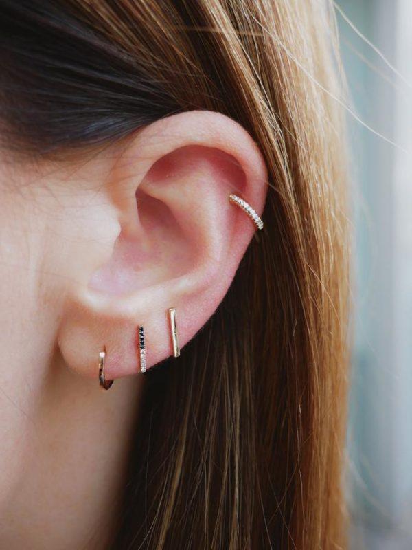 EF COLLECTION 14K GOLD MINI BAR STUD EARRINGS
